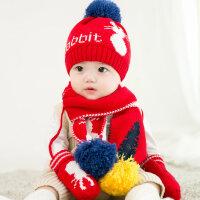 加绒男女童宝宝帽秋冬1-2岁婴儿帽子0-3 6-12个月儿童保暖毛线帽yly 毛线加绒