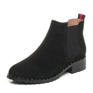 Belle/百丽2017冬时尚切尔西靴羊绒皮女短靴BQU53DD7