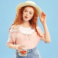 【1件2折到手价:31.8】美特斯邦威夏季新款T恤女短袖假两件露肩上衣纯棉宽松韩版潮