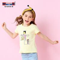 【每满100减50】铅笔俱乐部女童夏装2018新款短袖t恤儿童装洋气夏季体恤半袖潮衣