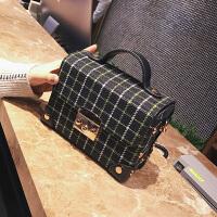 新款冬季韩版时尚单肩包呢子百搭女包小方包手提小包箱子包包
