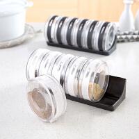 六格透明塑料调味罐调料盒套装 厨房用品盐罐调味盒调料罐调料瓶