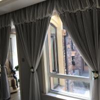 飘窗窗帘成品落地窗蕾丝窗帘公主风客厅全遮光窗帘布卧室遮阳窗纱