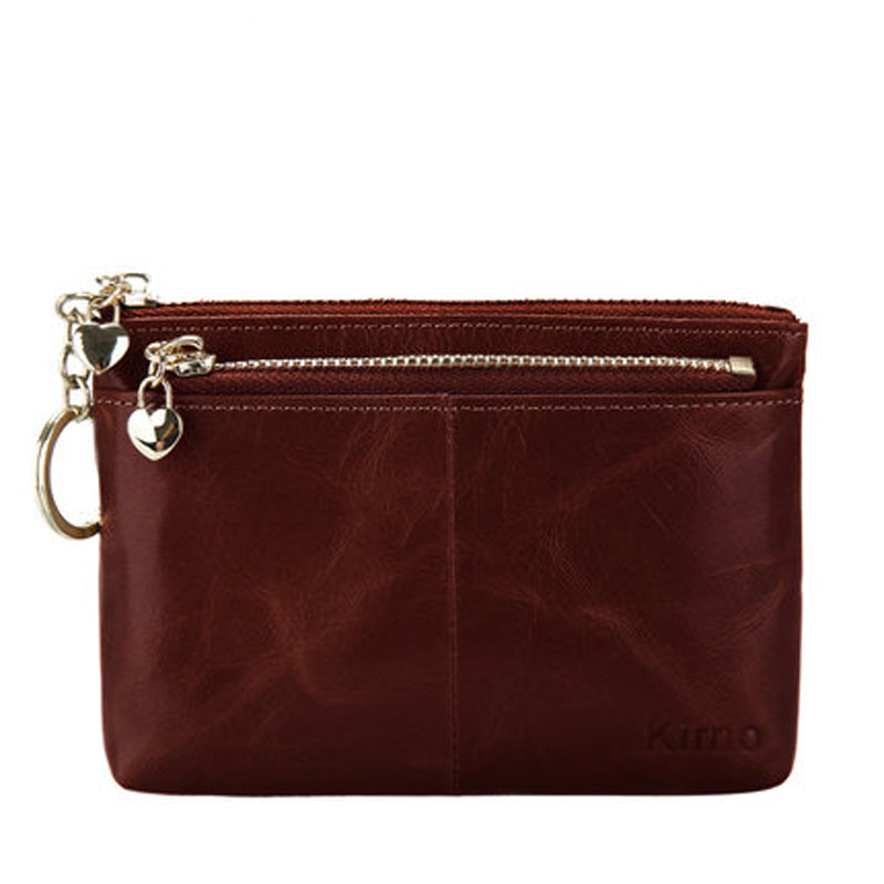 牛皮零钱包硬币包女 短款拉链手拿包钥匙包 真皮小钱包