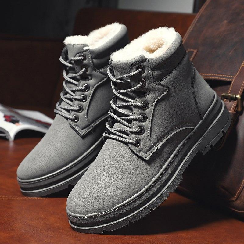 雪地靴男冬季保暖加绒东北加厚马丁靴潮百搭高帮英伦风工装靴棉鞋 H888 灰色