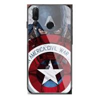 漫威动漫美国队长盾牌华为nova4/nova2s/nova3i/3e钢化玻璃镜面手机壳荣耀magic 华为nova4