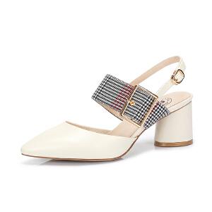 骆驼女鞋 2018夏季新款 时尚复古舒适格子粗跟韩版休闲尖头单鞋潮
