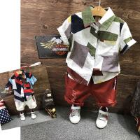 夏款男童短袖衬衫 几何图案印花棉麻宽松休闲儿童衬衣B3-A32