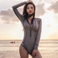 泳衣女连体保守小胸聚拢长袖拉链泳装显瘦遮肚性感韩国温泉游泳衣