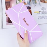几何图案长款钱包女士时尚大容量拉链钱夹韩版手拿包包手提包 浅紫色