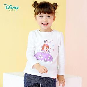 迪士尼Disney童装女孩衣服 索菲亚新款秋季宝宝纯棉上衣后开扣圆领休闲t恤衫183S1040