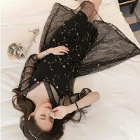 大码连衣裙两件套女夏新款胖mm中长款镂空刺绣网纱吊带裙套装