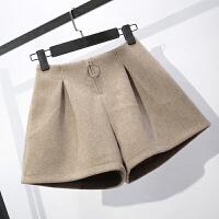 毛呢短裤女秋冬2018新款韩版a字阔腿裤黑色高腰显瘦学生靴裤