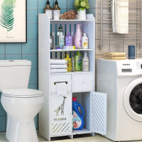 【支持礼品卡】厕所置物架子浴室落地式洗衣机收纳马桶洗手间免打孔卫生间储物柜5sb