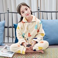 女童加绒睡衣秋冬儿童冬季加厚睡衣小女孩家居服女大童珊瑚绒睡衣