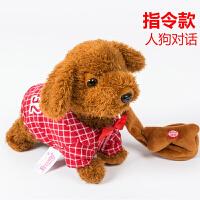 电动玩具狗仿真泰迪智能遥控指令声控狗电子宠物小狗儿童毛绒玩具 QC-661 深色毛 格子红色