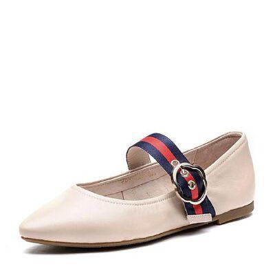 BASTO/百思图2018春季专柜同款羊皮尖头浅口条纹女单鞋TM726AQ8