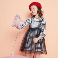 【满1000减750】moomoo童装女童针织连衣裙新款春秋装时尚洋气儿童女孩两件式裙子