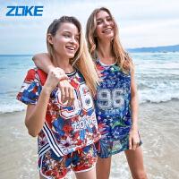 洲克(ZOKE) 新品分体女式泳衣三件套罩衫泳装遮肚显瘦沙滩度假温泉保守小胸聚拢女士背心游泳衣