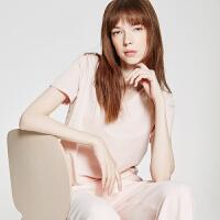 【1件2.5折到手价:44.8】MECITY女装秋装V领糖果色弹力短袖韩版网红同款莫代尔T恤