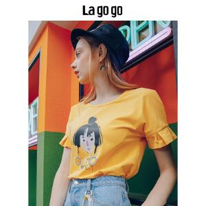 【清仓3折价89.7】Lagogo2019夏季新款女装黄色卡通立体印花T恤短袖女套头休闲上衣HATT315A03
