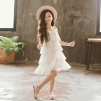 韩版度假洋气网纱连衣裙女童白色海边沙滩裙公主表演裙蕾丝蛋糕裙