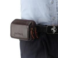 手机腰包男穿皮带横款时尚手机包腰包男士牛皮4.5寸5.5寸休闲包包