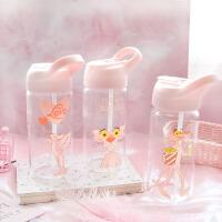 夏季新款卡通学生日系可爱粉透明情侣水杯动物便携吸管杯玻璃杯子