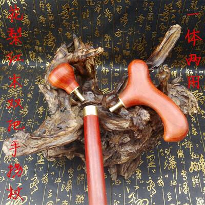 实木老人拐杖仗红花梨老年人防滑拐棍木头手杖绅士文明助行器