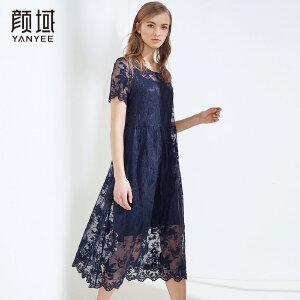 颜域2018夏装新款两件套蕾丝连衣裙中长款A摆纯色钩花镂空裙子女
