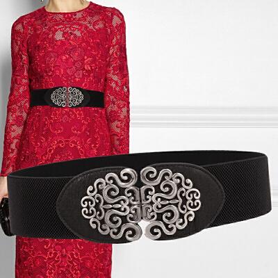 复古民族风连衣裙装饰宽腰带女士黑红色松紧腰封弹力百搭皮带6cm