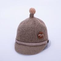 8个月-4岁宝宝帽子冬季针织儿童鸭舌帽2新款秋冬天男童女童毛线帽 卡其色 双扣毛线鸭舌 均码