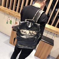 新款男士双肩包韩版潮流时尚迷彩书包个性学生背包休闲旅行包 黑色 配迷彩