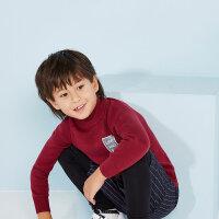 美特斯邦威旗下 moomoo童装男童高领印花基本款套头毛衫中大童新款儿童针织衫