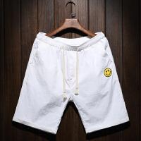 夏季薄款刺绣休闲短裤男士加肥加大码韩版宽松五分裤潮流沙滩裤子