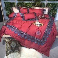 大蕾丝花边60支贡缎刺绣长绒棉四件套酒红色婚庆棉床上用品