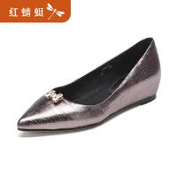 金粉世家红蜻蜓旗下 春季新品鞋子女单鞋百搭真皮浅口尖头平底鞋