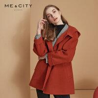 【1件3折价:539.7,18日0点可叠券】纯羊毛MECITY女装连帽短款落肩双面呢外套大衣