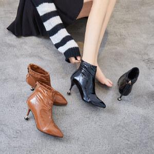 ZHR2018秋冬季新款细跟短靴韩版高跟靴尖头短筒单靴女靴百搭靴子