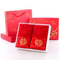 棉竹纤维大红百年好合方格粉色毛巾礼盒装结婚喜字婚庆回礼 74x34cm
