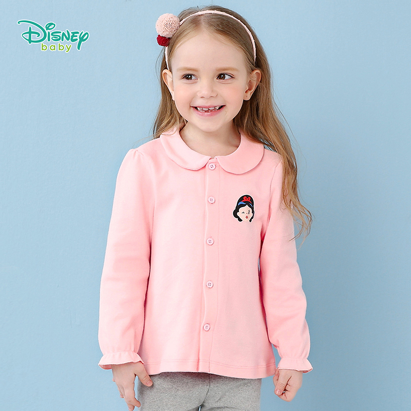 【129元3件】迪士尼Disney童装女童长袖上衣公主衣2018秋装新款宝宝棉衣服183S1046 甜美娃娃领前开长袖上衣