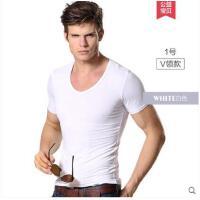 男士内衣修身短袖背心纯色紧身V领莫代尔T恤打底衫汗衫