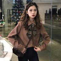 秋冬女装韩版气质翻领丝带领结长袖衬衫上衣2017新款衬衣打底衫潮