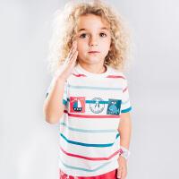 【3.23-3.26踏青日2件7折 3件6折 4件5折】暇步士童男童圆领衫夏装新款短袖t恤中小儿童半袖条纹T恤