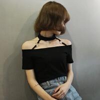 夏季新款韩版修身显瘦短款挂脖短袖T恤圆环学生一字领露肩上衣潮