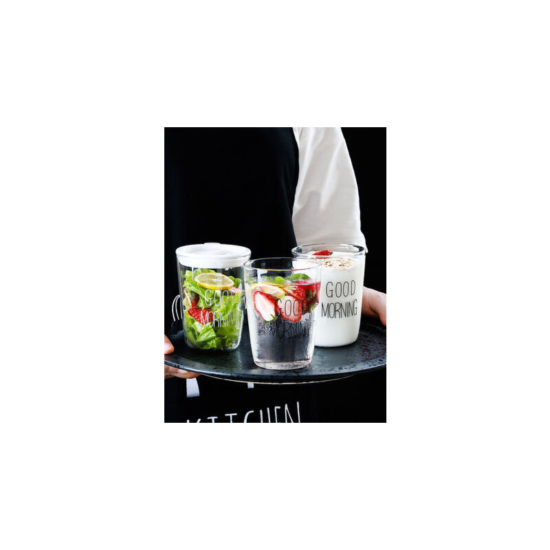 素宝 早餐杯透明玻璃杯子带盖牛奶杯日式纯色耐热马克杯简约透明 早餐杯子 带盖牛奶杯