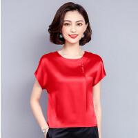 班图诗妮 2018新款女装短袖T恤大码显瘦时尚百搭重磅真丝衬衫女