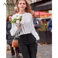 【到手价:163元】Amii极简超仙洋气韩版雪纺衫女2019秋季新宽松圆领拼花边系带上衣
