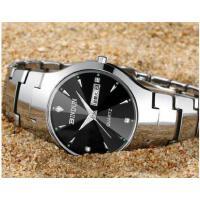 手表钨钢防水石英表男士手表日历情侣对表商务时尚钢带手表