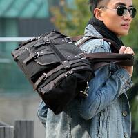 潮包帆布包韩版男包单肩包男士斜挎包包休闲包手提包旅行斜跨